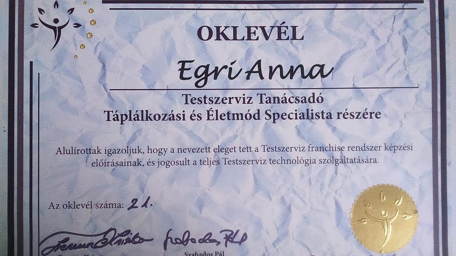 Testszerviz Akadémia Oklevél - Egri Anna